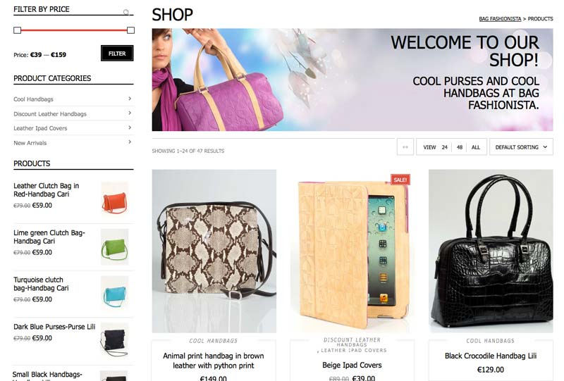 Bagfashionista Leather handbags ecommerce WordPress Website Design development marbella-disenoideas