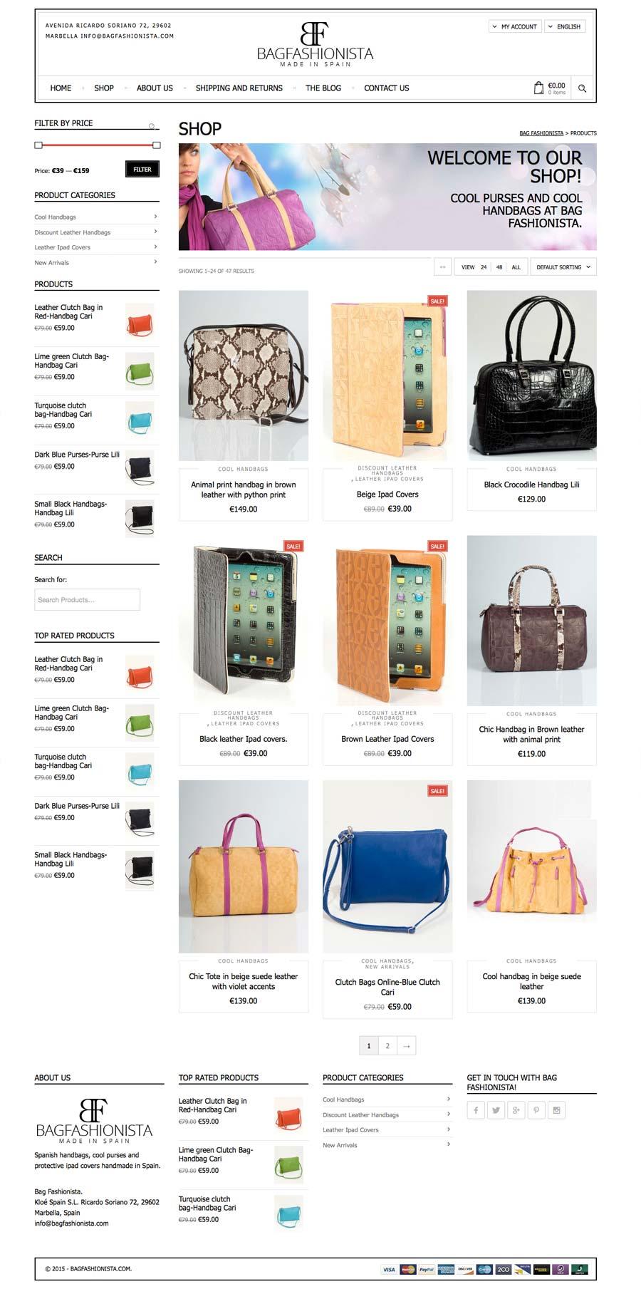 0e6ec5e5979b Bagfashionista Leather handbags ecommerce WordPress Website Design  development marbella-disenoideas