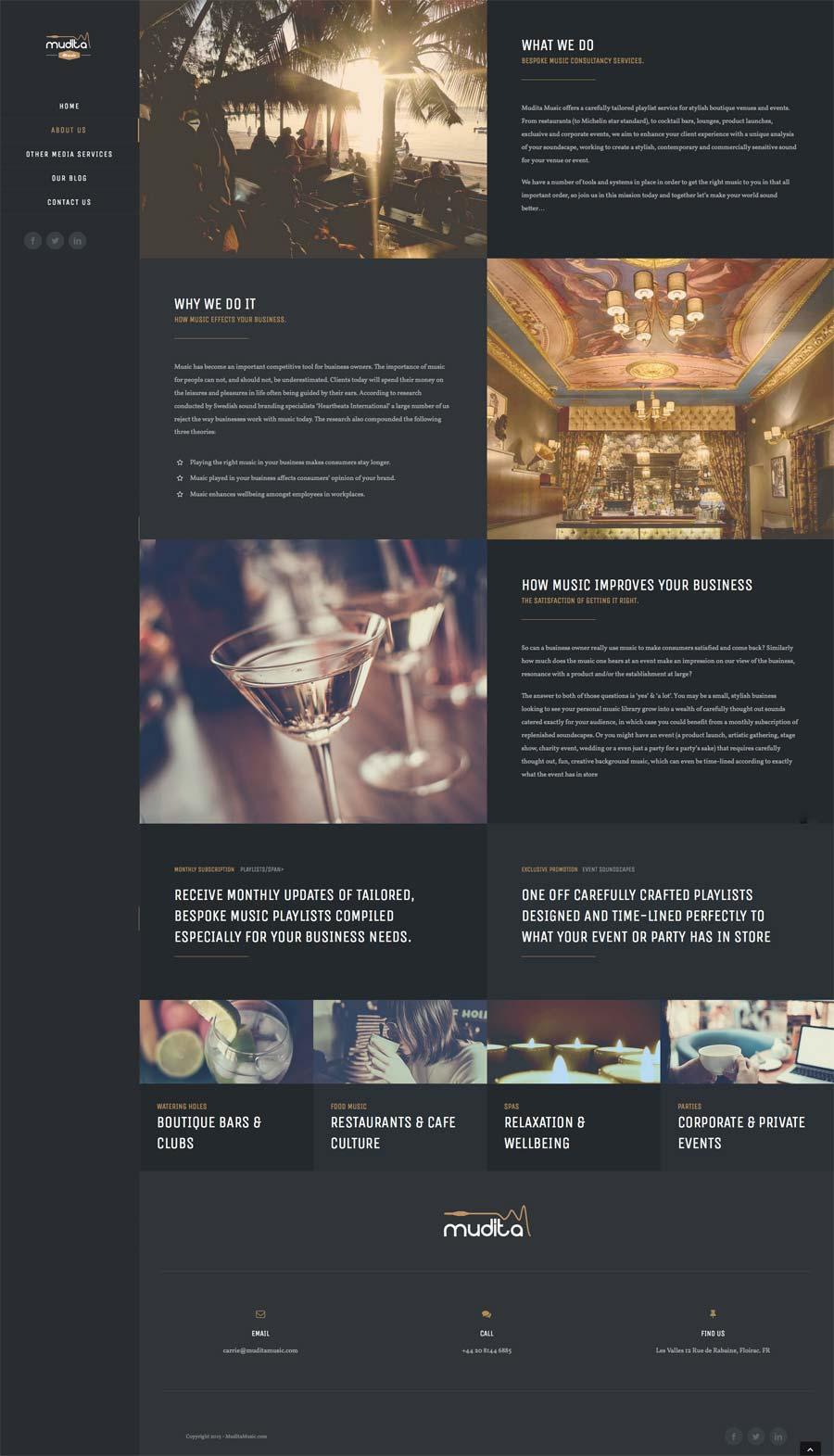 Mudita music - Responsive, Web Design, WordPress