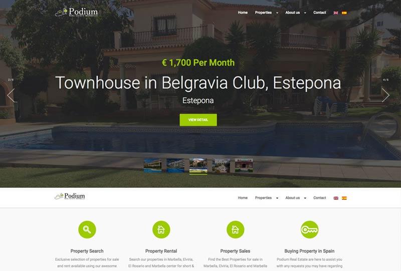 property rental website, real estate marbella, Web Design, WordPress