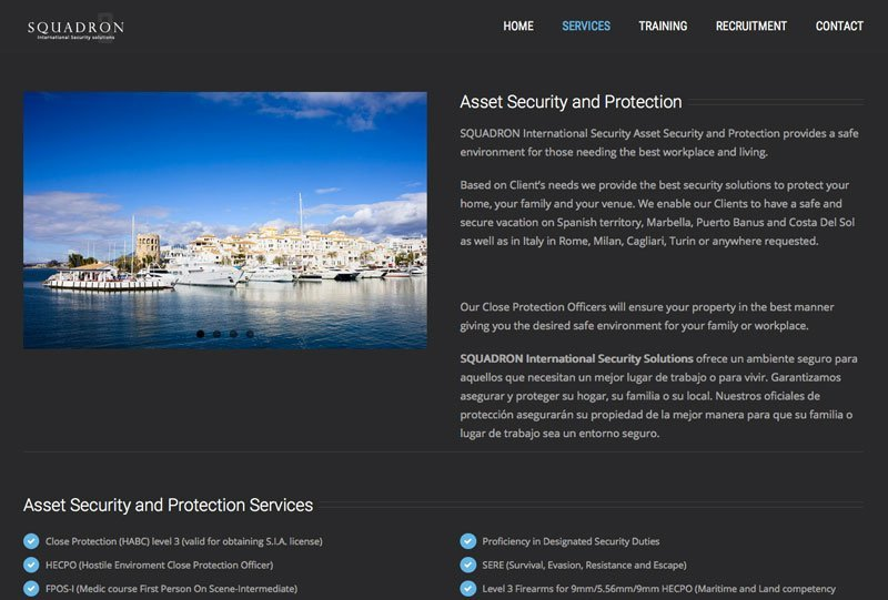 Squadron Security - WordPress website - wordpress Web Design marbella disenoideas