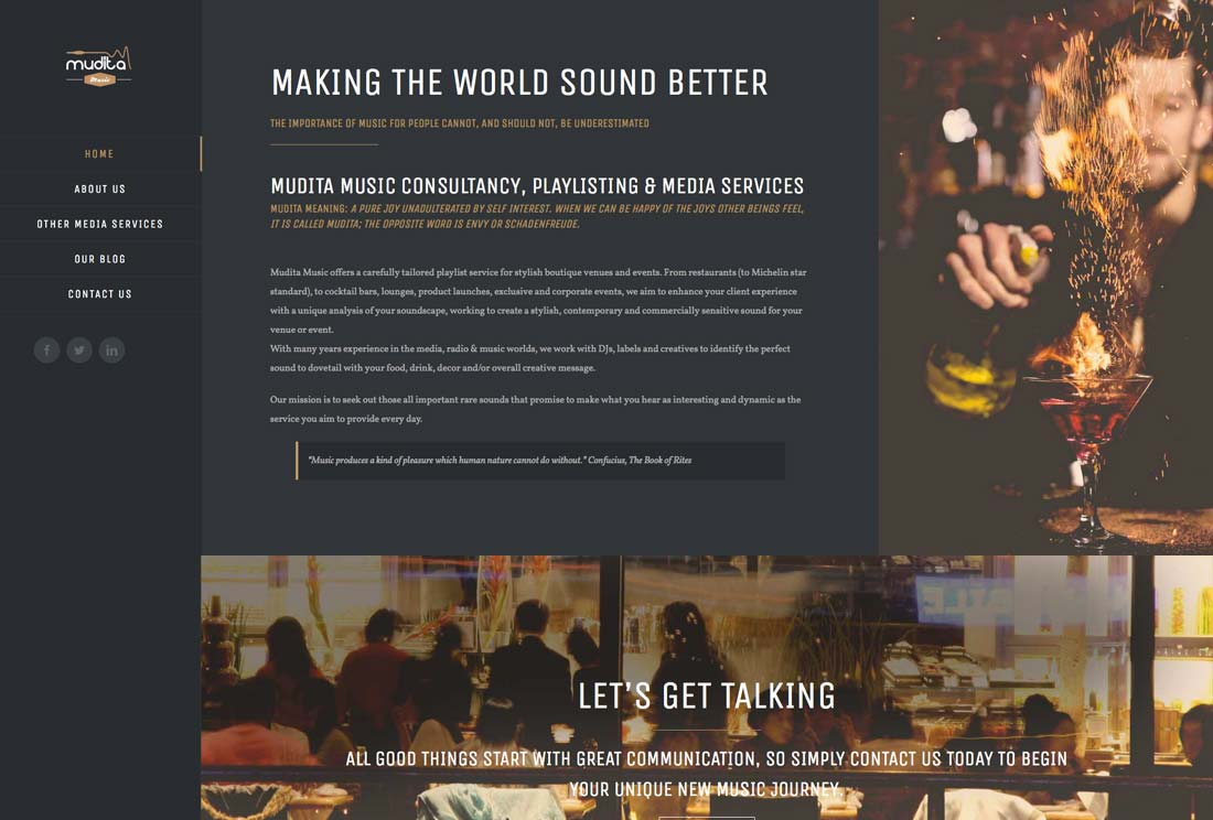 Mudita music - Responsive, Web Design, WordPress