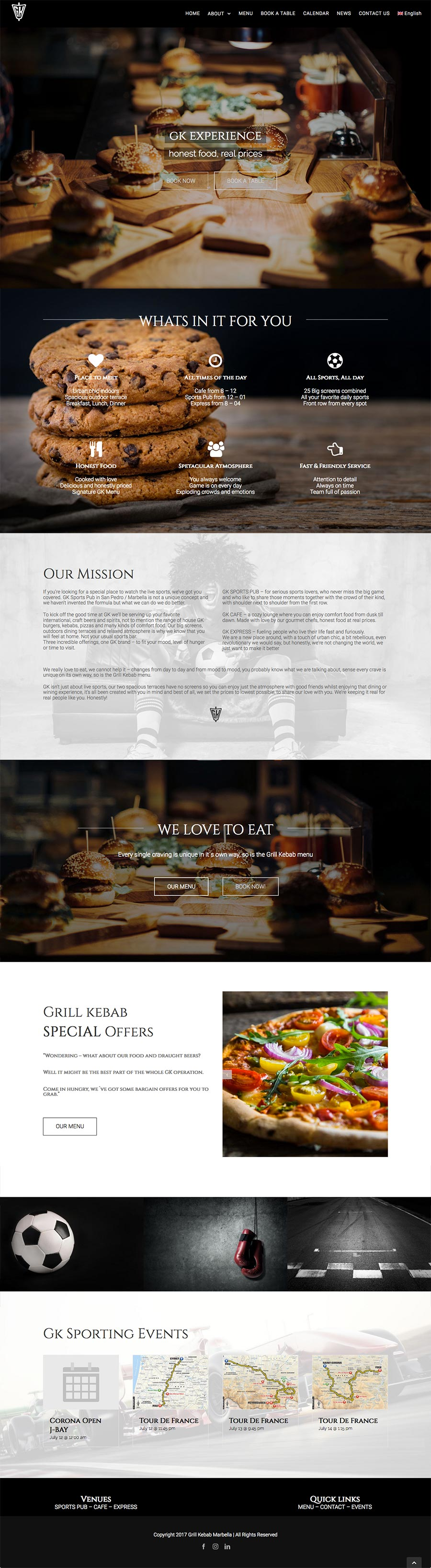 Restaurant website design web-site-design-gk-sports-pub-marbella