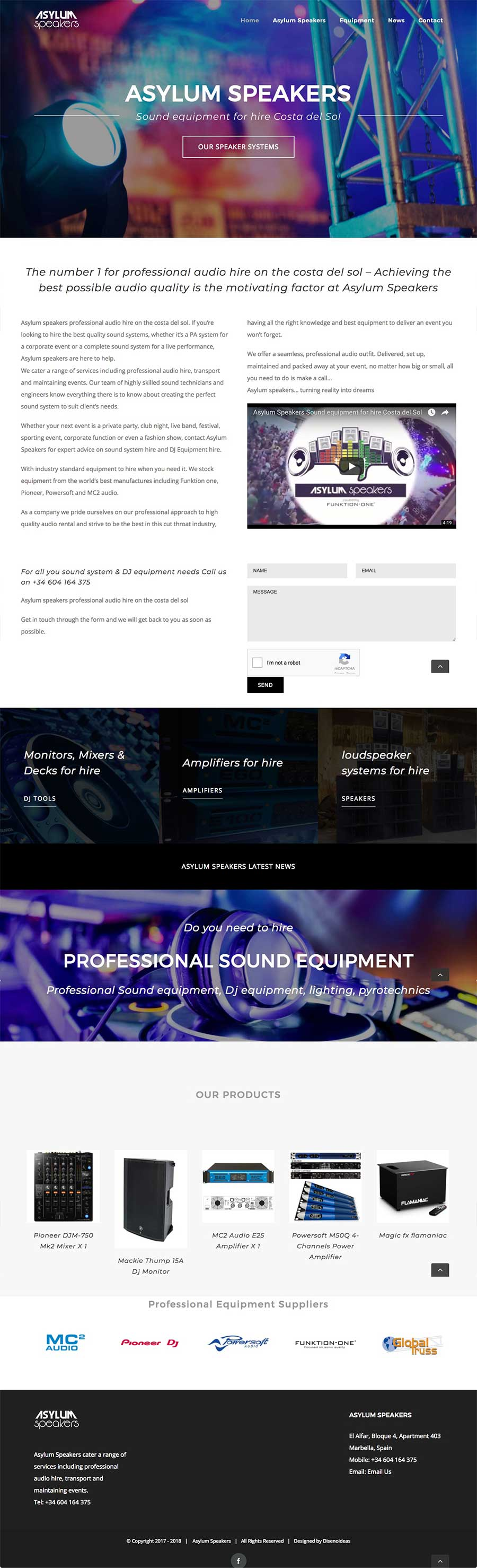 Website design for sound system hire company in Marbella, multilingual website design mobile friendly functionality