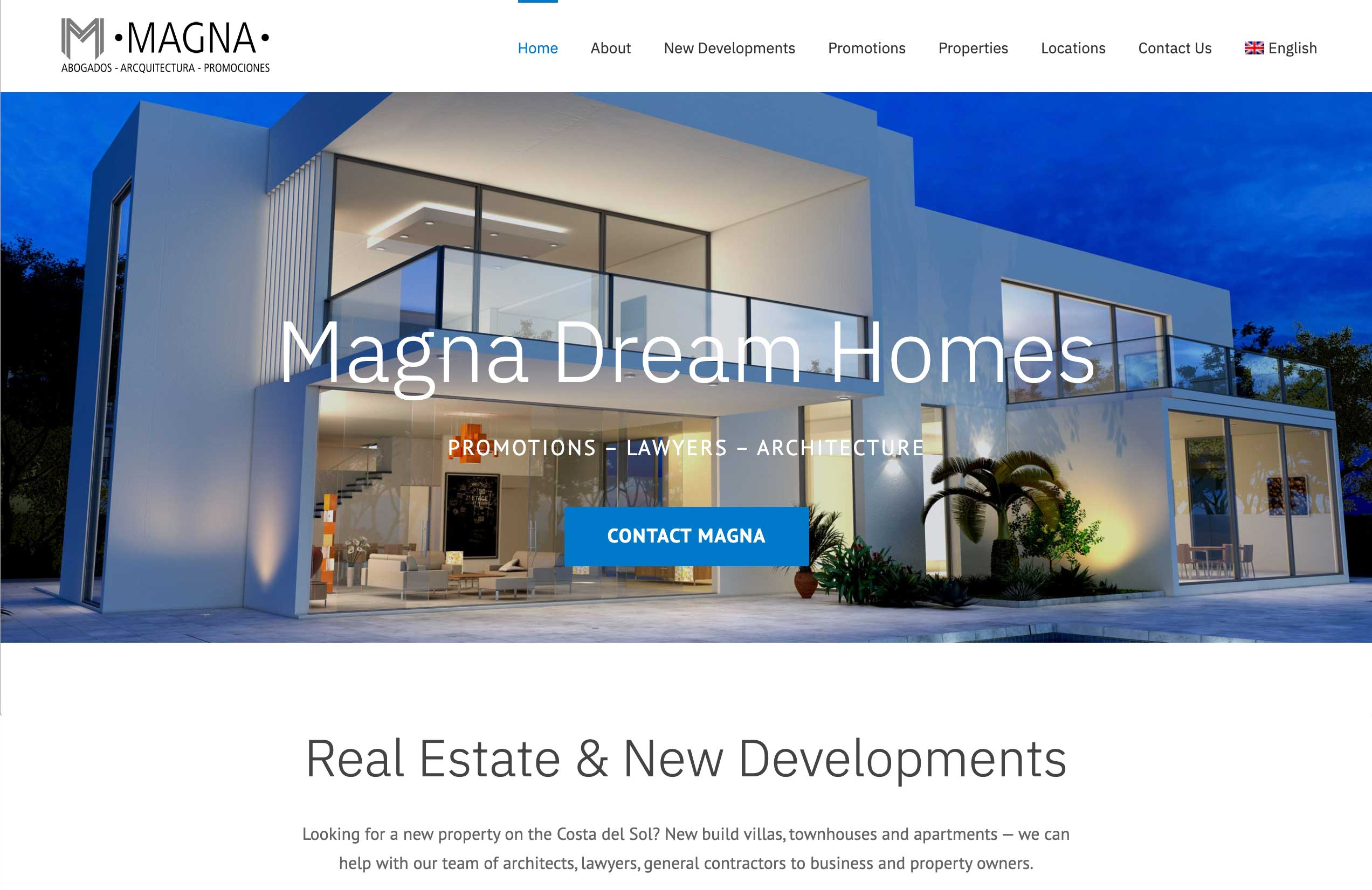 magna dream homes marbella real estate and new promotions wordpress website