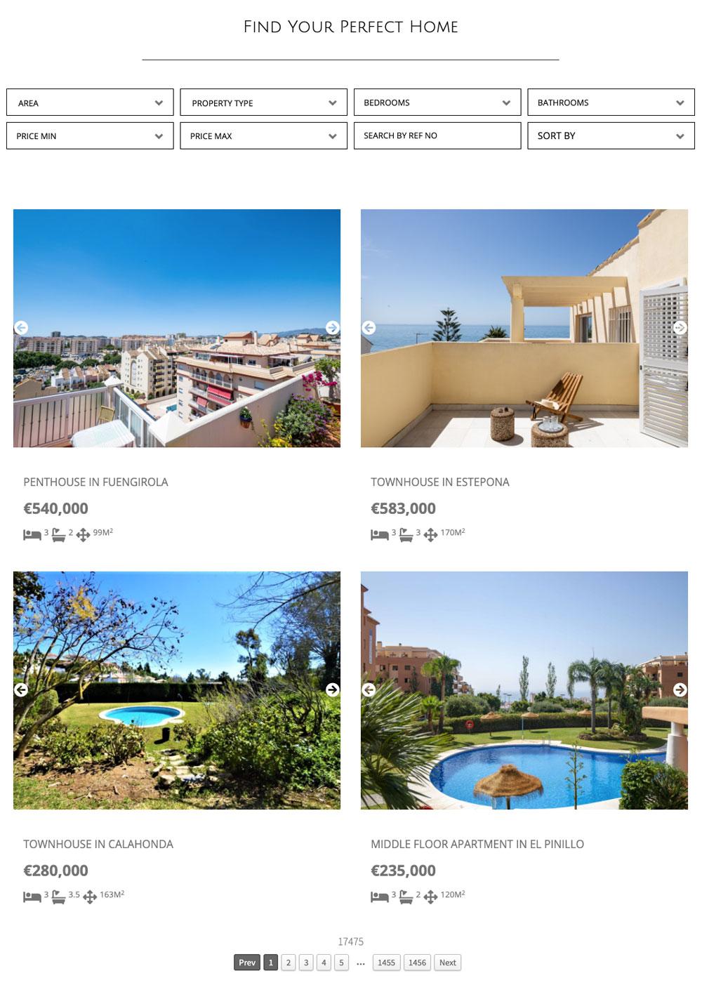 real estate website design with wordpress plugin for ReSales Online marbella